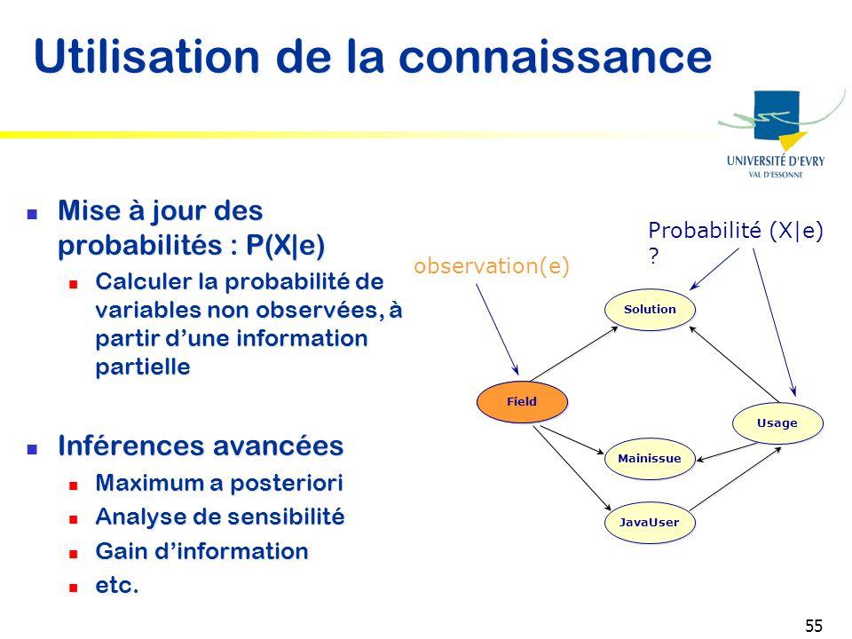 55 Mainissue Solution Usage JavaUser Field Utilisation de la connaissance Field observation(e) Probabilité (X|e) ? Mise à jour des probabilités : P(X|