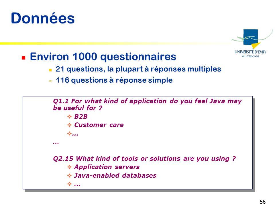 56 Données Environ 1000 questionnaires 21 questions, la plupart à réponses multiples 116 questions à réponse simple Environ 1000 questionnaires 21 que