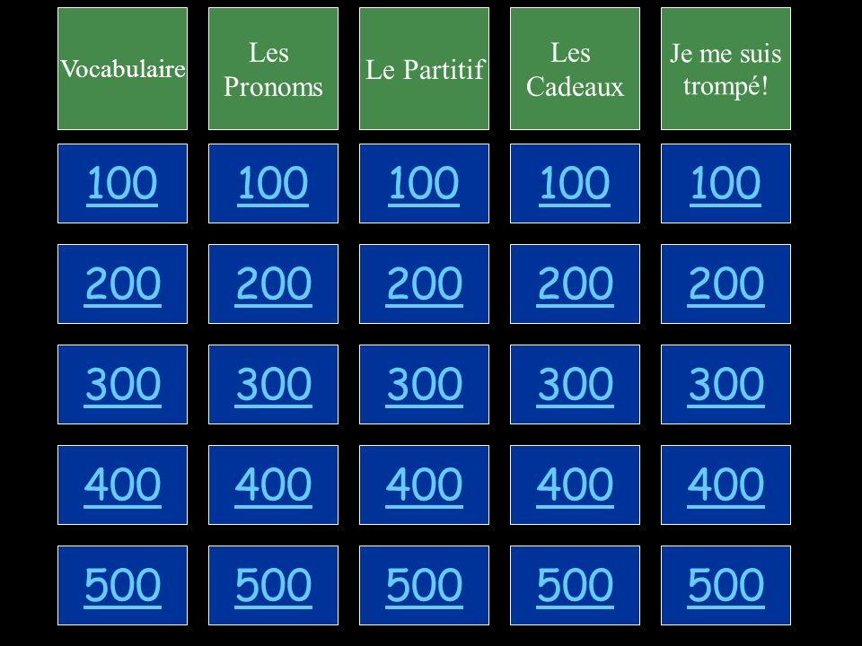 Les Pronoms - for 100 Replace the logical portion with the proper pronoun: Vous voulez une douzaine dœufs?
