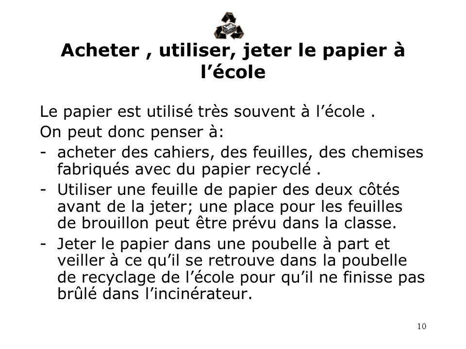 10 Acheter, utiliser, jeter le papier à lécole Le papier est utilisé très souvent à lécole. On peut donc penser à: -acheter des cahiers, des feuilles,