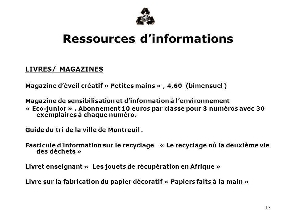 13 Ressources dinformations LIVRES/ MAGAZINES Magazine déveil créatif « Petites mains », 4,60 (bimensuel ) Magazine de sensibilisation et dinformation
