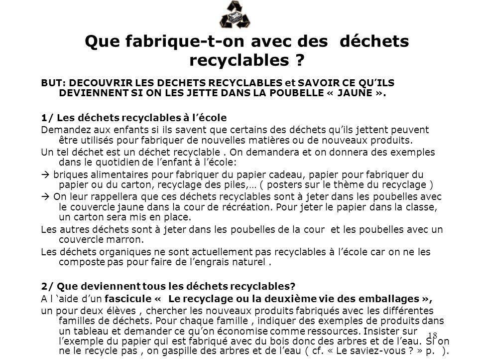 18 Que fabrique-t-on avec des déchets recyclables ? BUT: DECOUVRIR LES DECHETS RECYCLABLES et SAVOIR CE QUILS DEVIENNENT SI ON LES JETTE DANS LA POUBE