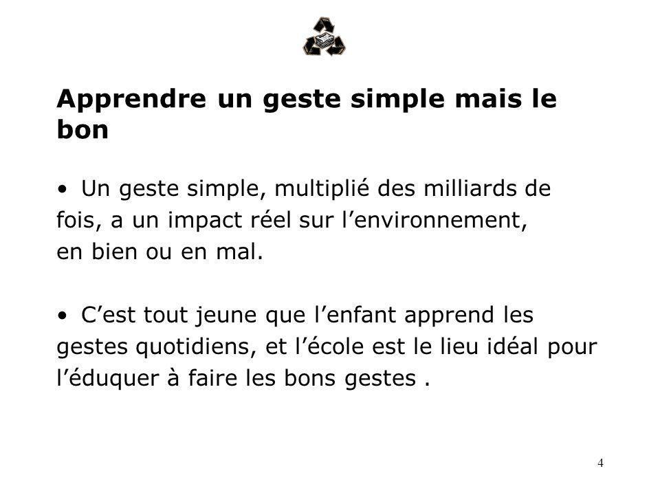 4 Apprendre un geste simple mais le bon Un geste simple, multiplié des milliards de fois, a un impact réel sur lenvironnement, en bien ou en mal. Cest