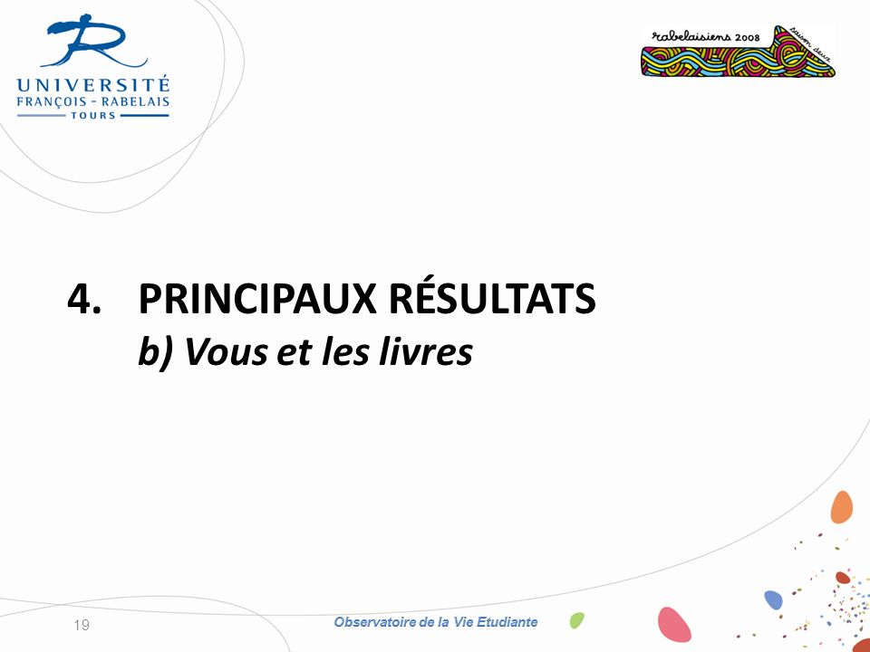 4.PRINCIPAUX RÉSULTATS b) Vous et les livres 19