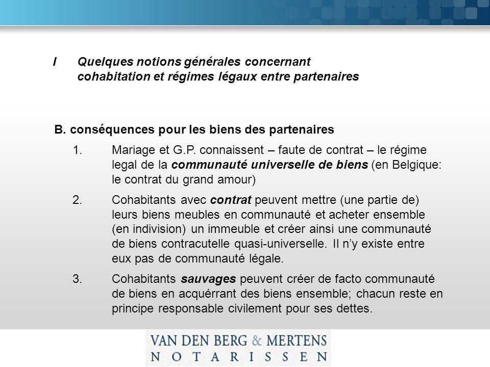 IQuelques notions générales concernant cohabitation et régimes légaux entre partenaires B.