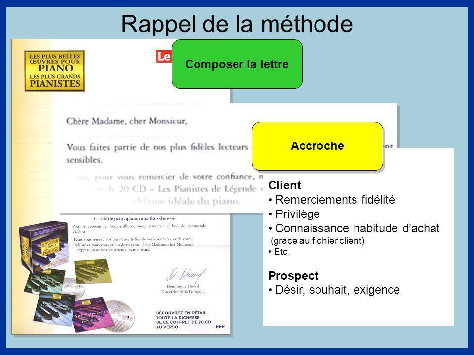 Rappel de la méthode Composer la lettre Client Remerciements fidélité Privilège Connaissance habitude dachat (grâce au fichier client) Etc.