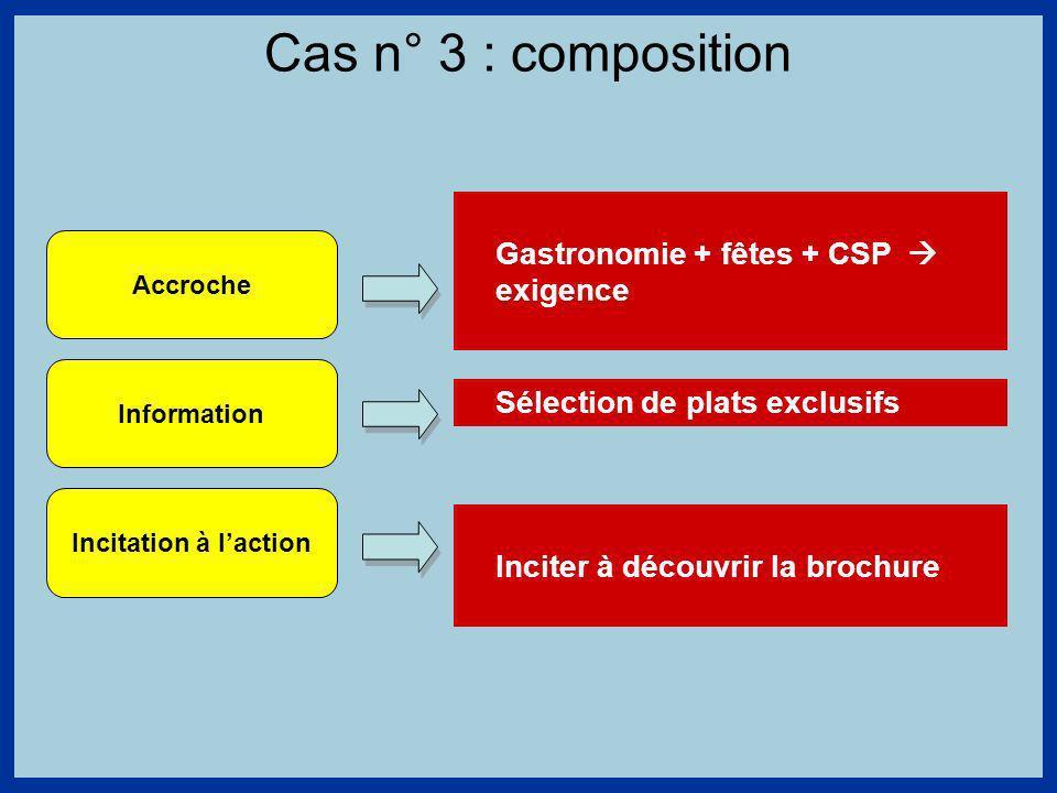 Cas n° 3 : composition Accroche Information Incitation à laction Gastronomie + fêtes + CSP exigence Sélection de plats exclusifs Inciter à découvrir la brochure