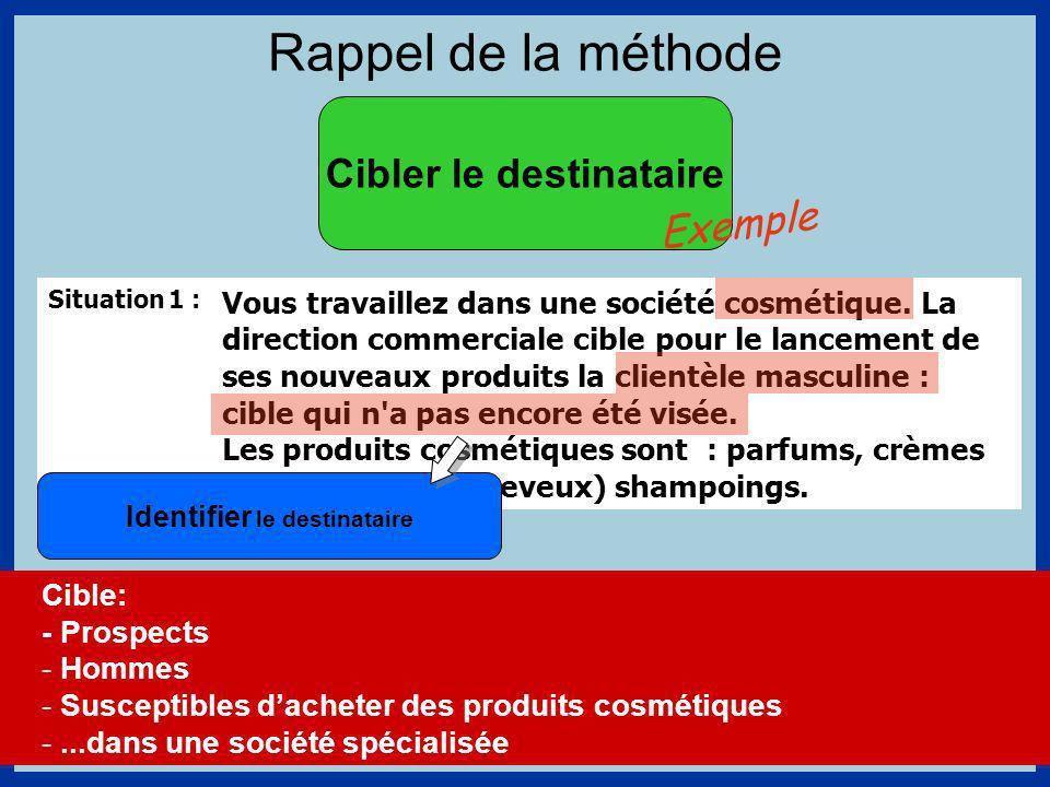 Rappel de la méthode Cibler le destinataire Situation 1 : Vous travaillez dans une société cosmétique.