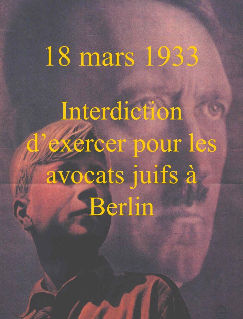 31 mars 1933 Le juges juifs sont suspendus.