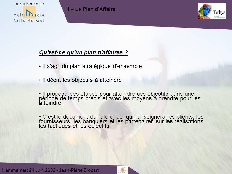 Hammamet : 24 Juin 2009 - Jean-Pierre Brocart Qu est-ce qu un plan d affaires .
