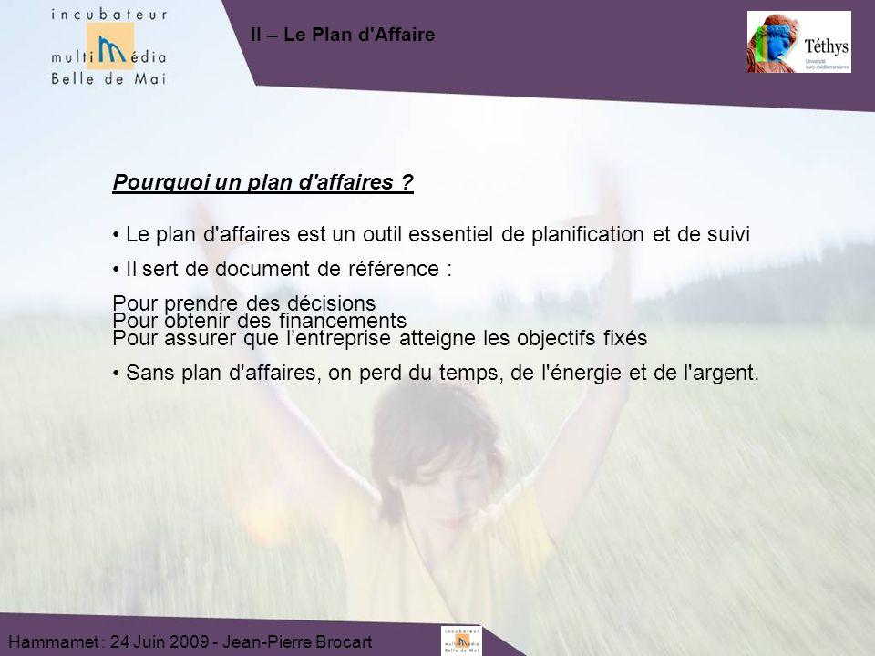Hammamet : 24 Juin 2009 - Jean-Pierre Brocart Pourquoi un plan d affaires .