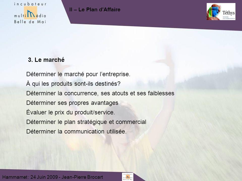 Hammamet : 24 Juin 2009 - Jean-Pierre Brocart 3. Le marché Déterminer le marché pour lentreprise.