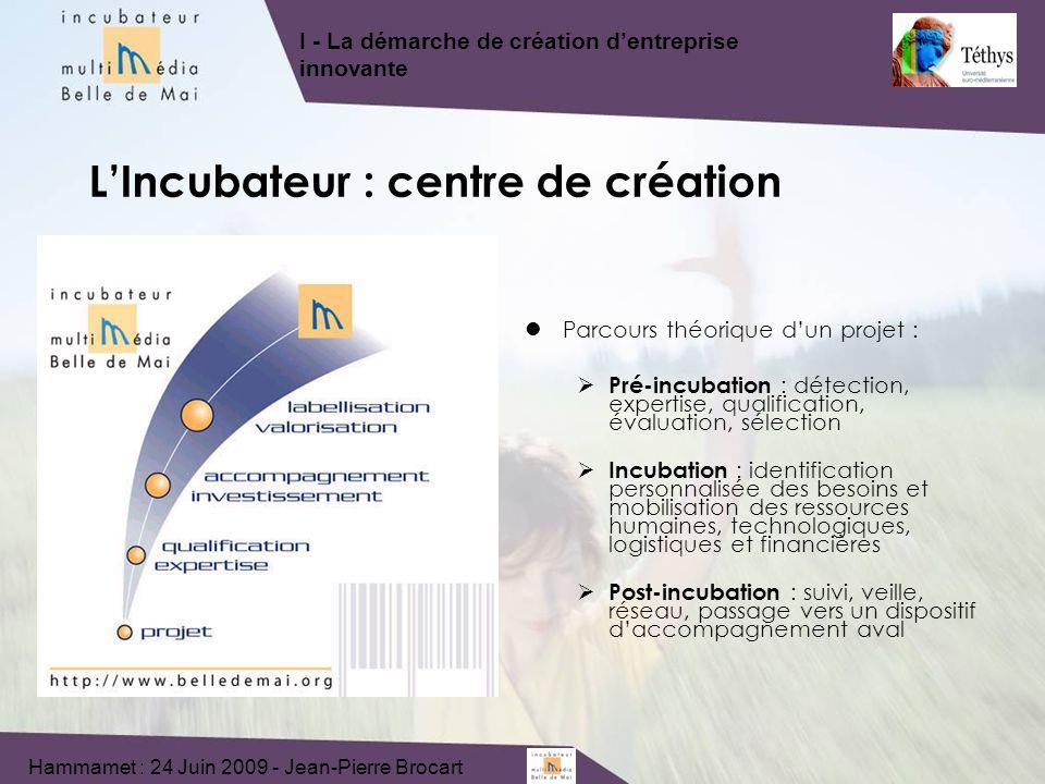 Parcours théorique dun projet : Pré-incubation : détection, expertise, qualification, évaluation, sélection Incubation : identification personnalisée