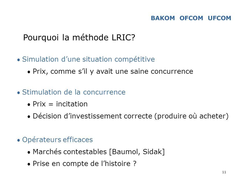 11 Pourquoi la méthode LRIC? Simulation dune situation compétitive Prix, comme sil y avait une saine concurrence Stimulation de la concurrence Prix =