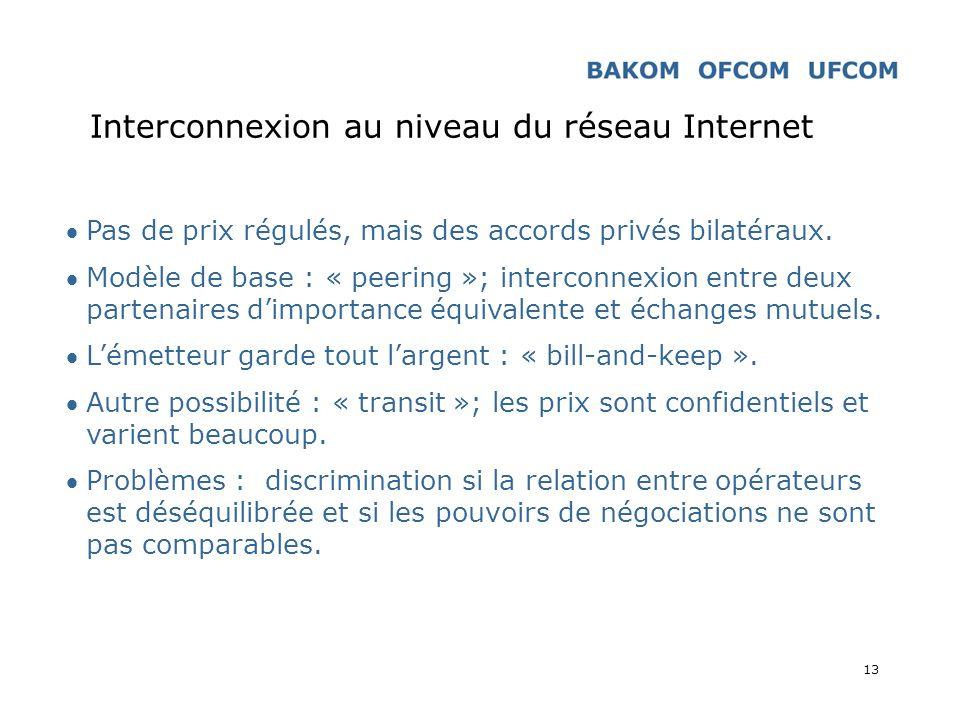 13 Interconnexion au niveau du réseau Internet Pas de prix régulés, mais des accords privés bilatéraux. Modèle de base : « peering »; interconnexion e