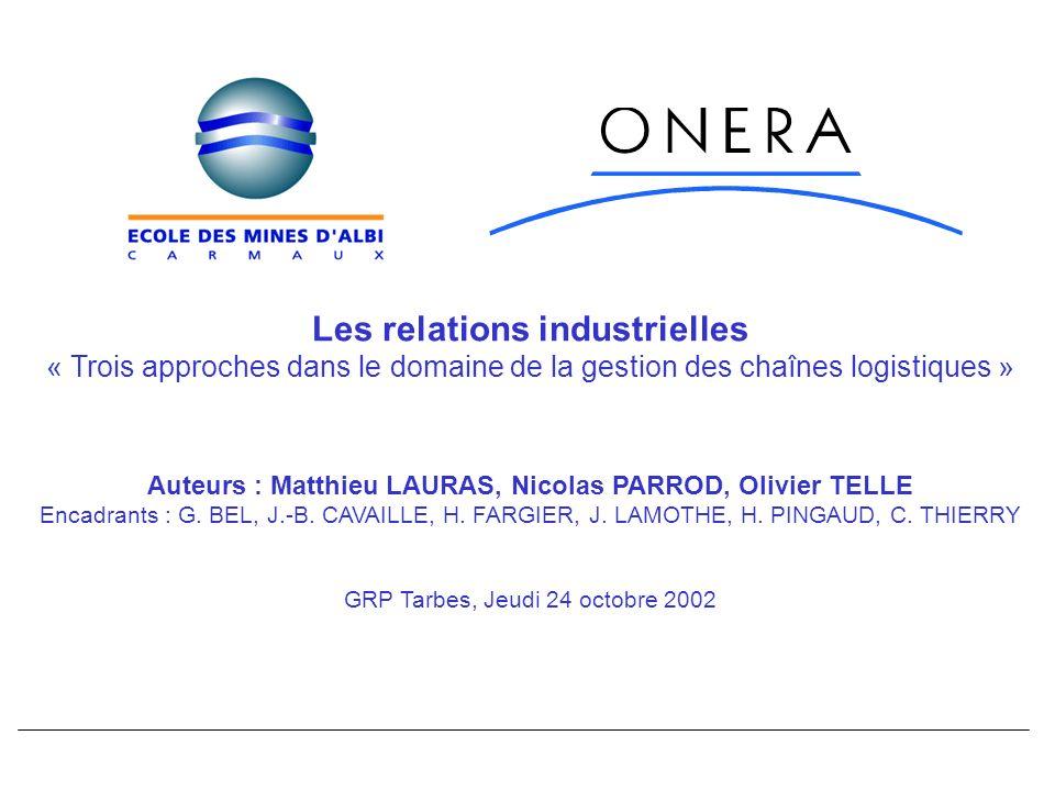 Les relations industrielles « Trois approches dans le domaine de la gestion des chaînes logistiques » Auteurs : Matthieu LAURAS, Nicolas PARROD, Olivier TELLE Encadrants : G.