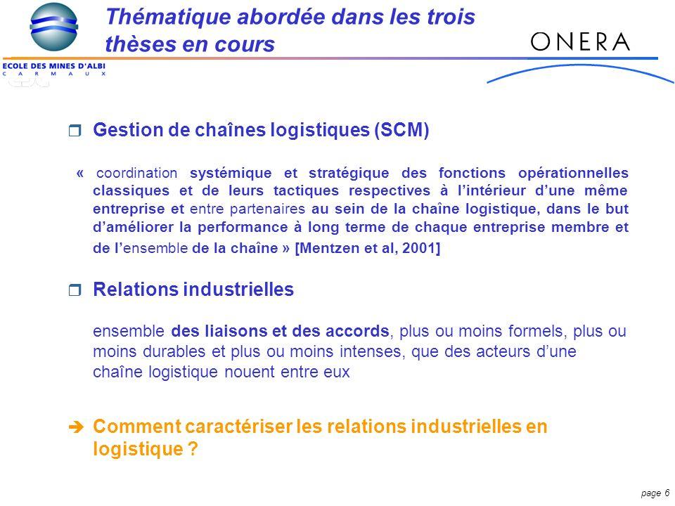 page 37 Résultat dun travail coopératif entre les acteurs de 3 thèses sur les relations industrielles inter et intra entreprise en logistique.