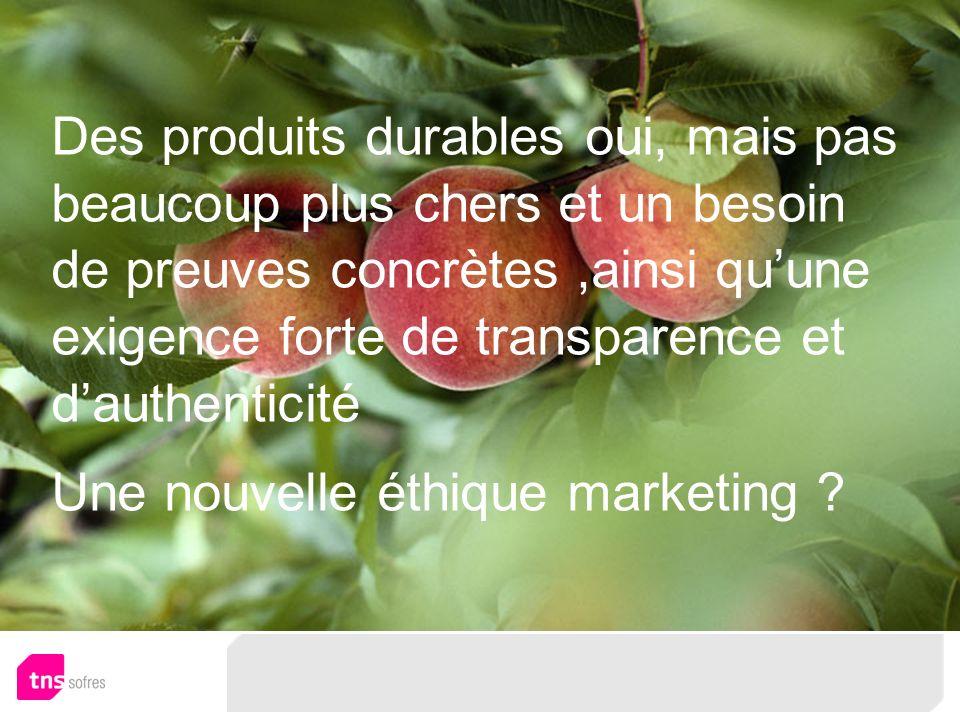 Des produits durables oui, mais pas beaucoup plus chers et un besoin de preuves concrètes,ainsi quune exigence forte de transparence et dauthenticité Une nouvelle éthique marketing
