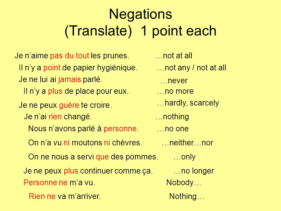 Negations (Translate) 2 points each I dont like the Yankees at all!Je naime pas du tout les Yankees.