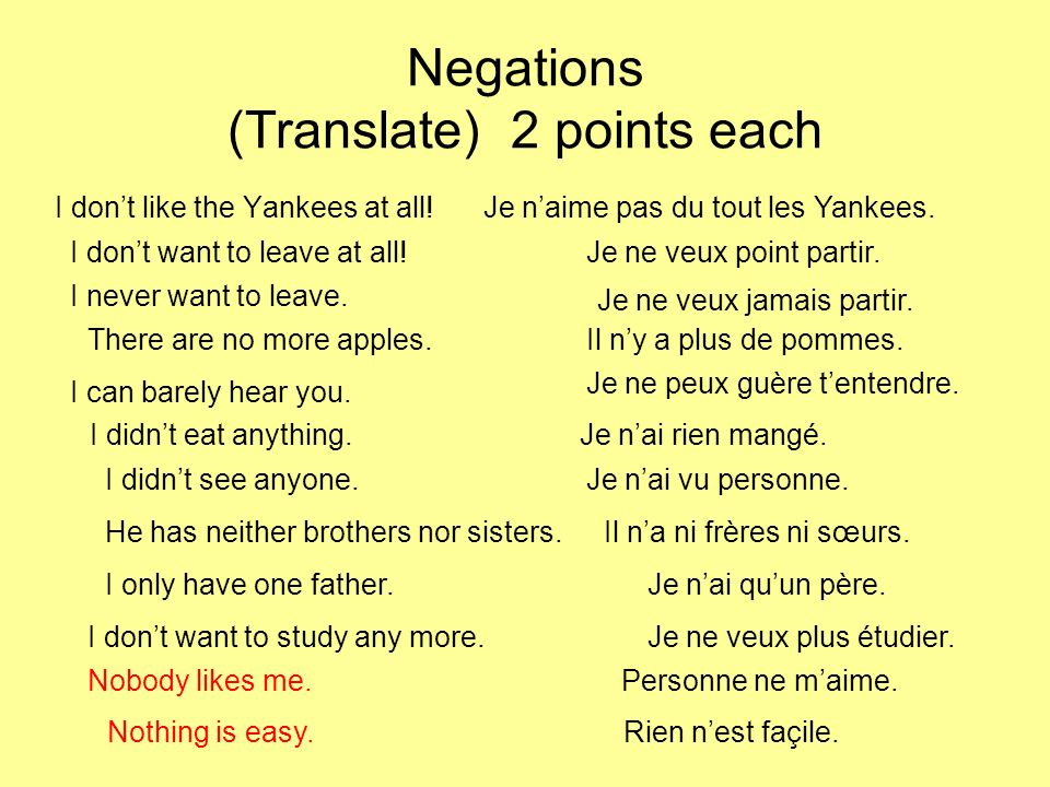 Verb tenses: translate (1 point each) I want you to drive.Je veux que tu conduises.