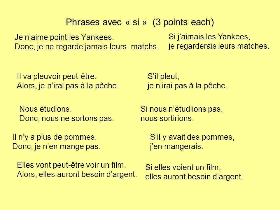 Phrases avec « si » (3 points each) Je naime point les Yankees.