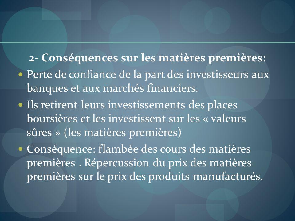 2- Conséquences sur les matières premières: Perte de confiance de la part des investisseurs aux banques et aux marchés financiers. Ils retirent leurs