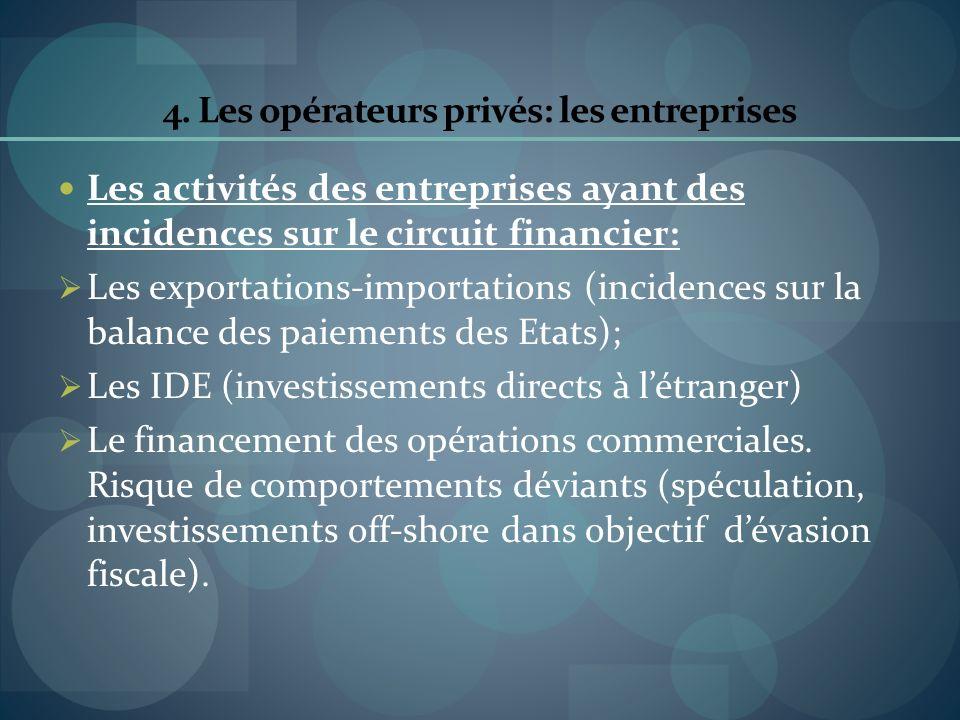 4. Les opérateurs privés: les entreprises Les activités des entreprises ayant des incidences sur le circuit financier: Les exportations-importations (