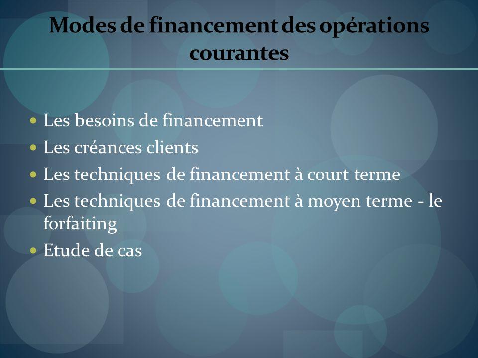 Modes de financement des opérations courantes Les besoins de financement Les créances clients Les techniques de financement à court terme Les techniqu