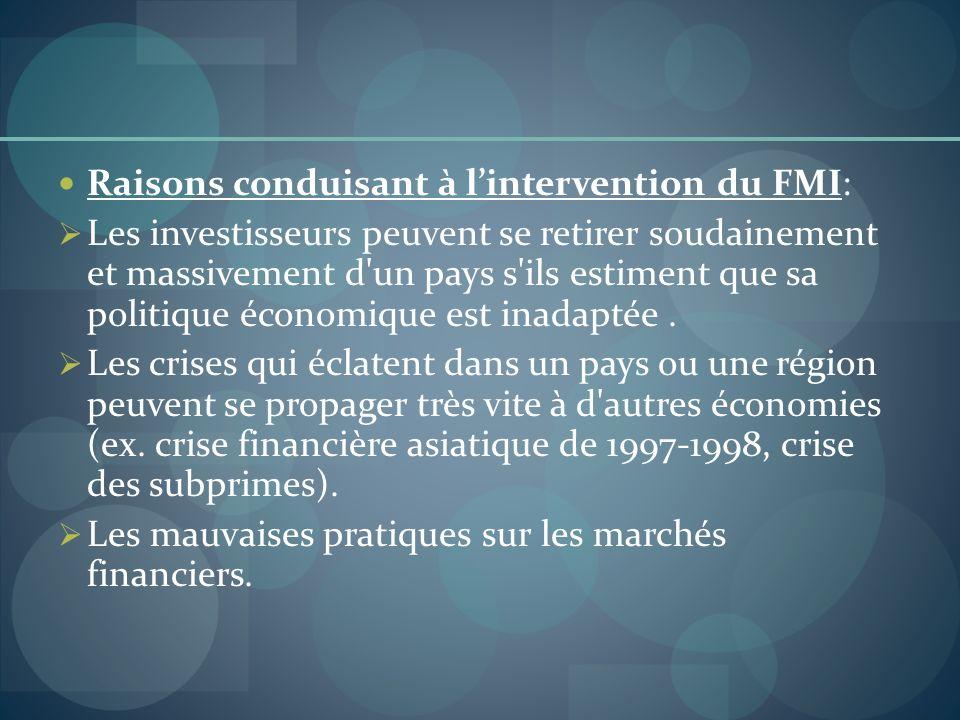 Raisons conduisant à lintervention du FMI: Les investisseurs peuvent se retirer soudainement et massivement d'un pays s'ils estiment que sa politique