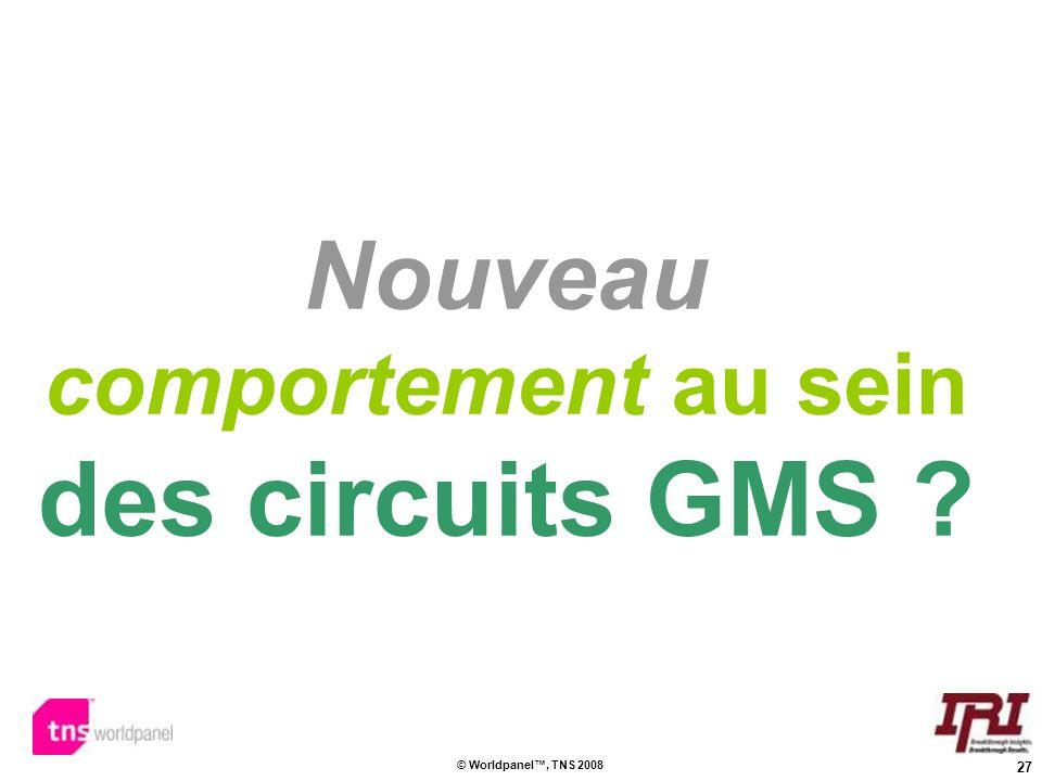 27 © Worldpanel, TNS 2008 Nouveau comportement au sein des circuits GMS ?