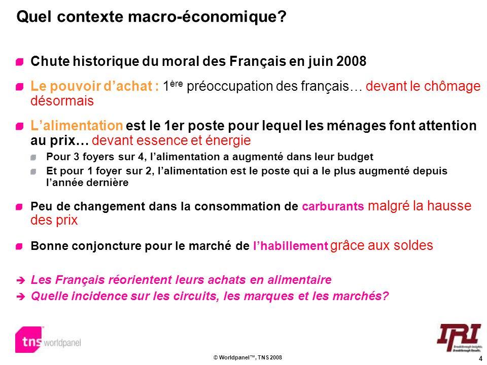 4 © Worldpanel, TNS 2008 Quel contexte macro-économique? Chute historique du moral des Français en juin 2008 Le pouvoir dachat : 1 ère préoccupation d