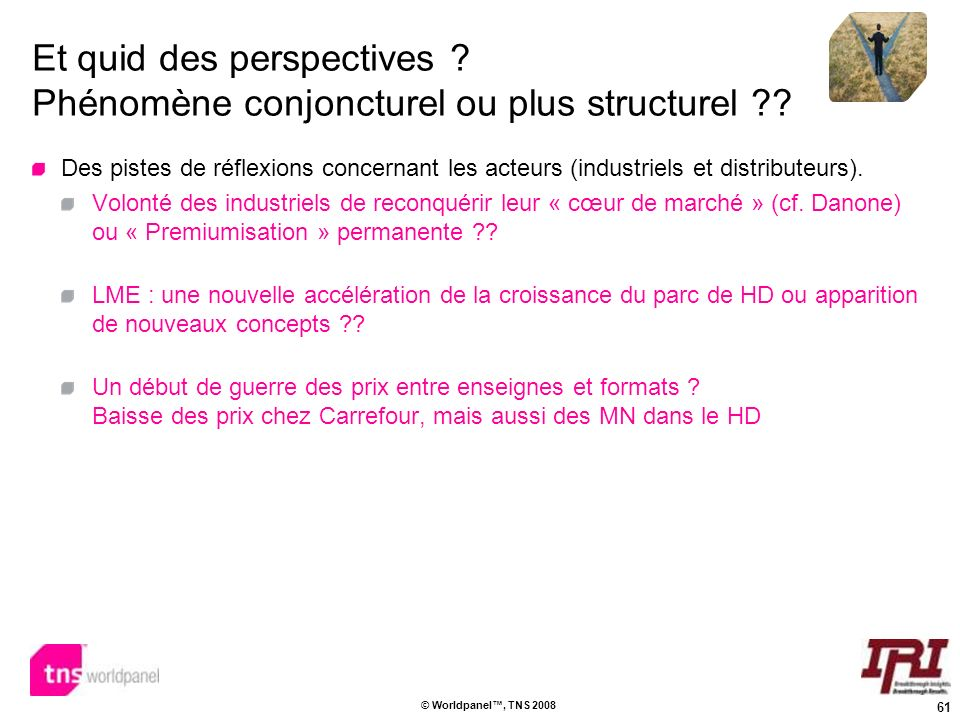 61 © Worldpanel, TNS 2008 Et quid des perspectives ? Phénomène conjoncturel ou plus structurel ?? Des pistes de réflexions concernant les acteurs (ind
