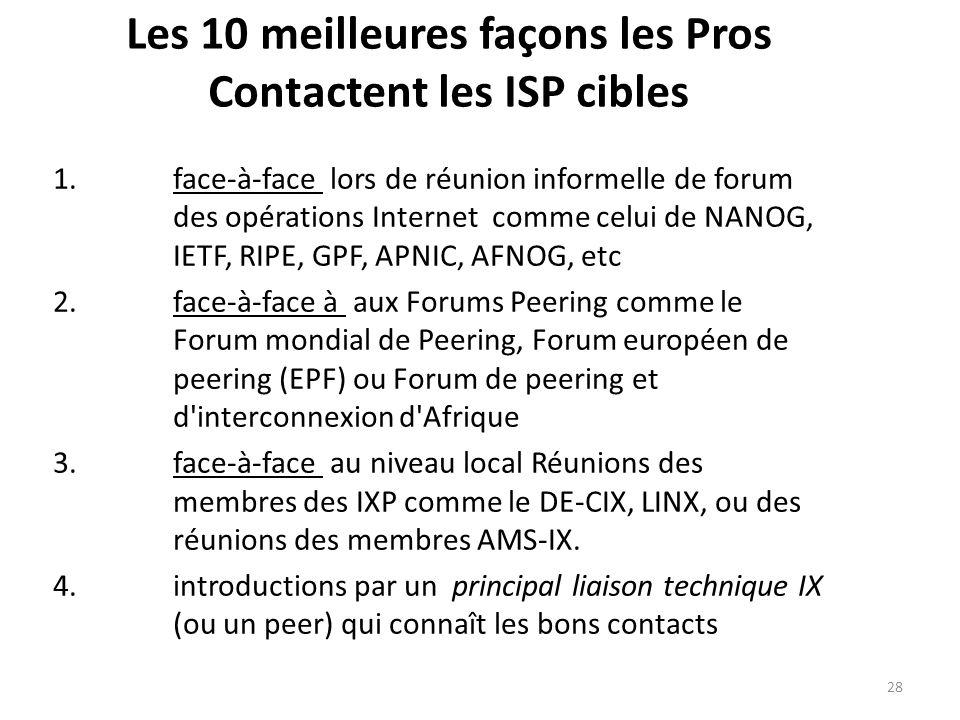 Les 10 meilleures façons les Pros Contactent les ISP cibles 1.face-à-face lors de réunion informelle de forum des opérations Internet comme celui de NANOG, IETF, RIPE, GPF, APNIC, AFNOG, etc 2.face-à-face à aux Forums Peering comme le Forum mondial de Peering, Forum européen de peering (EPF) ou Forum de peering et d interconnexion d Afrique 3.face-à-face au niveau local Réunions des membres des IXP comme le DE-CIX, LINX, ou des réunions des membres AMS-IX.