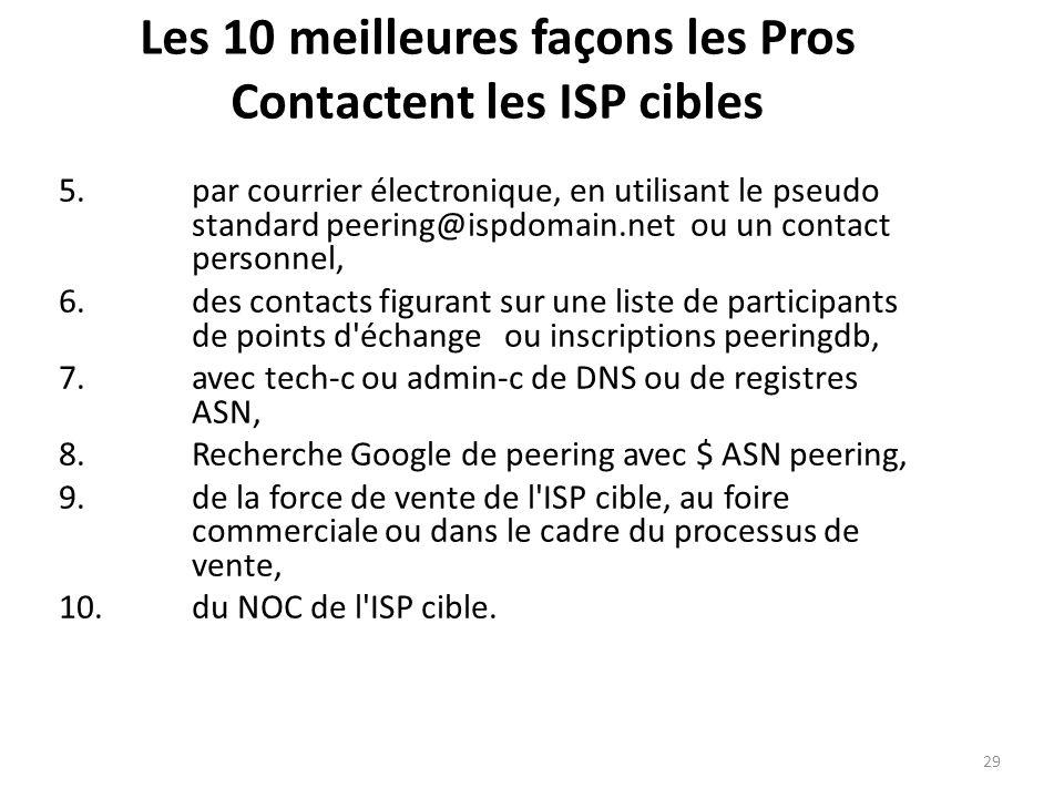 Les 10 meilleures façons les Pros Contactent les ISP cibles 5.par courrier électronique, en utilisant le pseudo standard peering@ispdomain.net ou un contact personnel, 6.des contacts figurant sur une liste de participants de points d échange ou inscriptions peeringdb, 7.avec tech-c ou admin-c de DNS ou de registres ASN, 8.Recherche Google de peering avec $ ASN peering, 9.de la force de vente de l ISP cible, au foire commerciale ou dans le cadre du processus de vente, 10.du NOC de l ISP cible.