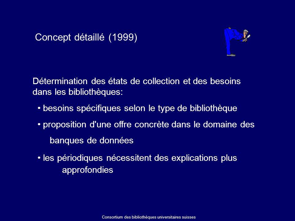 Concept détaillé (1999) besoins spécifiques selon le type de bibliothèque proposition d une offre concrète dans le domaine des banques de données les périodiques nécessitent des explications plus approfondies Détermination des états de collection et des besoins dans les bibliothèques: Consortium des bibliothèques universitaires suisses