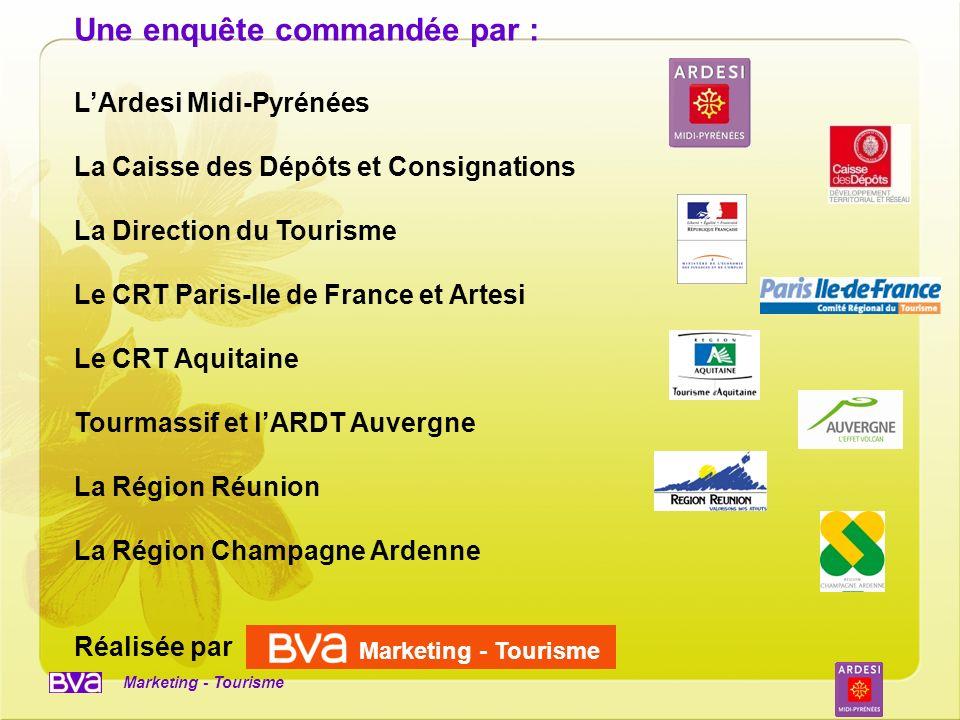 Marketing - Tourisme Une enquête commandée par : LArdesi Midi-Pyrénées La Caisse des Dépôts et Consignations La Direction du Tourisme Le CRT Paris-Ile