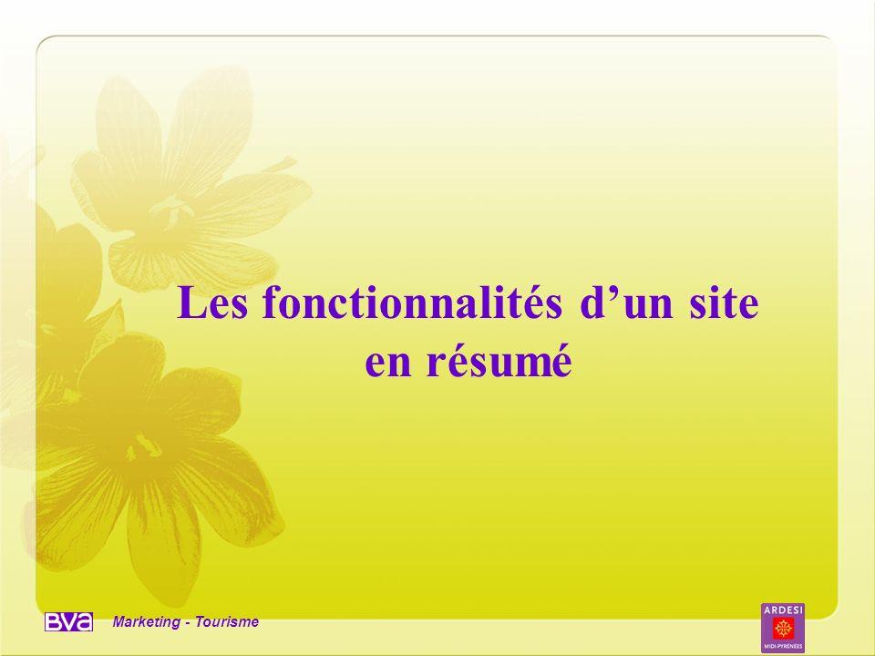 Marketing - Tourisme Les fonctionnalités dun site en résumé