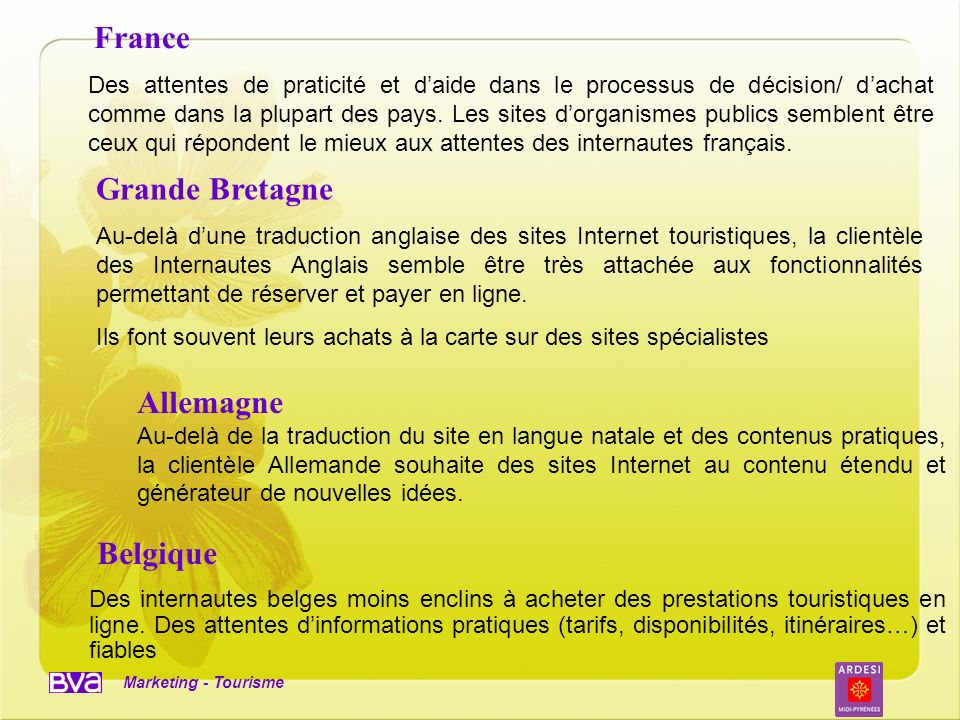 Marketing - Tourisme France Des attentes de praticité et daide dans le processus de décision/ dachat comme dans la plupart des pays. Les sites dorgani