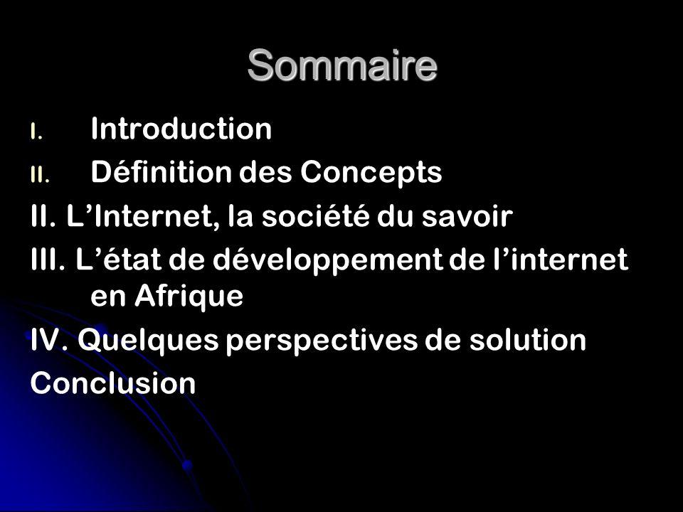 Sommaire I.I. Introduction II. II. Définition des Concepts II.