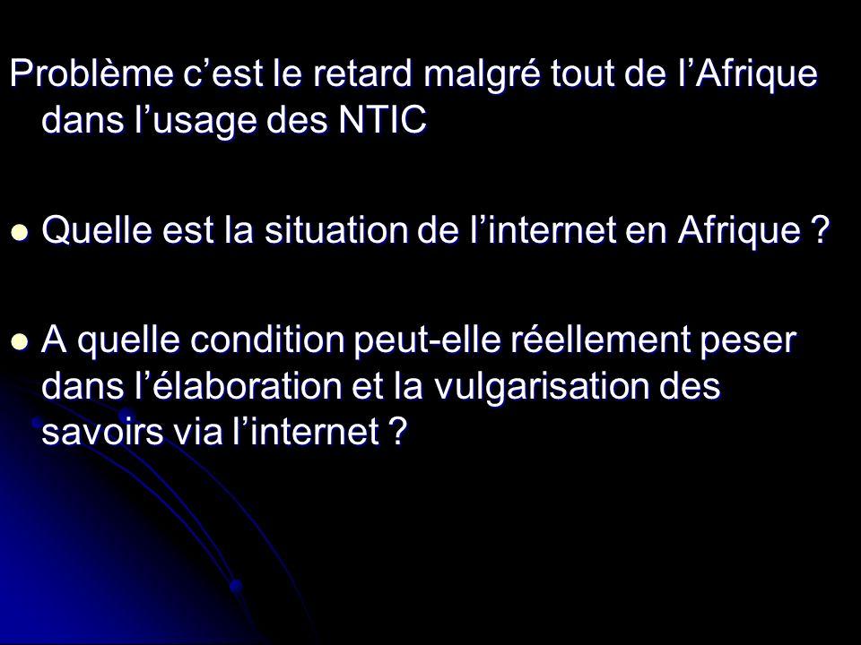 Problème cest le retard malgré tout de lAfrique dans lusage des NTIC Quelle est la situation de linternet en Afrique .
