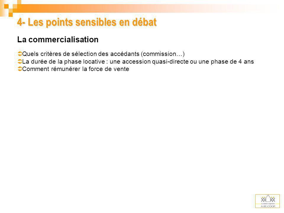 4- Les points sensibles en débat La commercialisation Quels critères de sélection des accédants (commission…) La durée de la phase locative : une acce