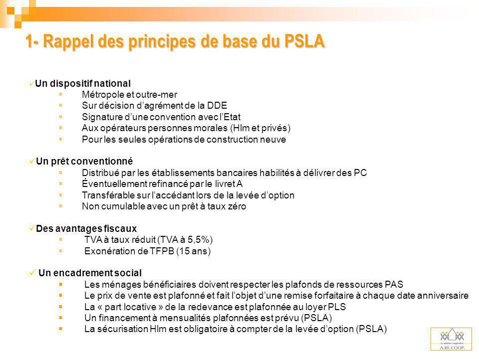 1- Rappel des principes de base du PSLA Un dispositif national Métropole et outre-mer Sur décision dagrément de la DDE Signature dune convention avec