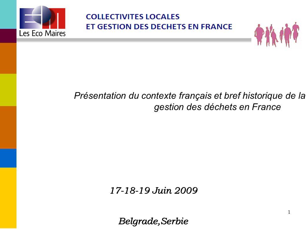 1 Présentation du contexte français et bref historique de la gestion des déchets en France 17-18-19 Juin 2009 Belgrade,Serbie