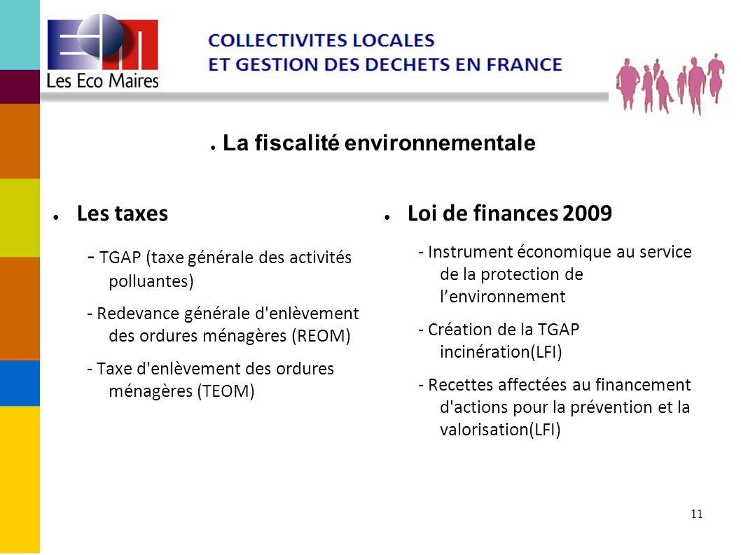 11 La fiscalité environnementale Les taxes - TGAP (taxe générale des activités polluantes) - Redevance générale d'enlèvement des ordures ménagères (RE
