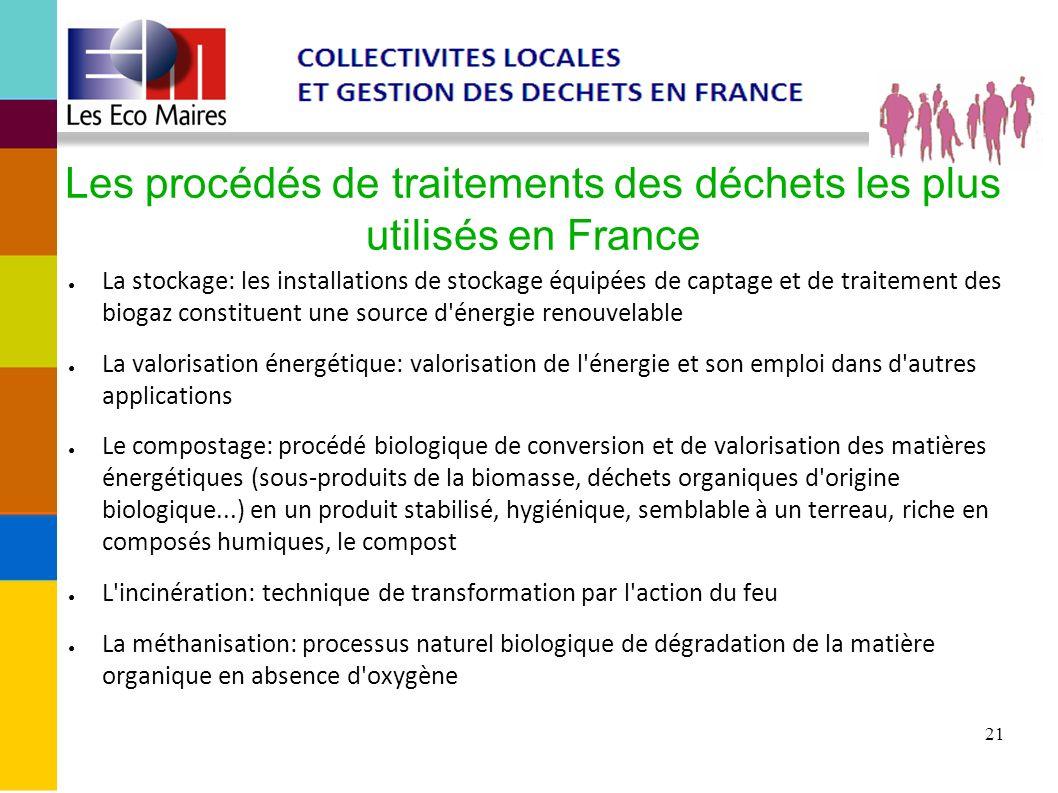 21 Les procédés de traitements des déchets les plus utilisés en France La stockage: les installations de stockage équipées de captage et de traitement