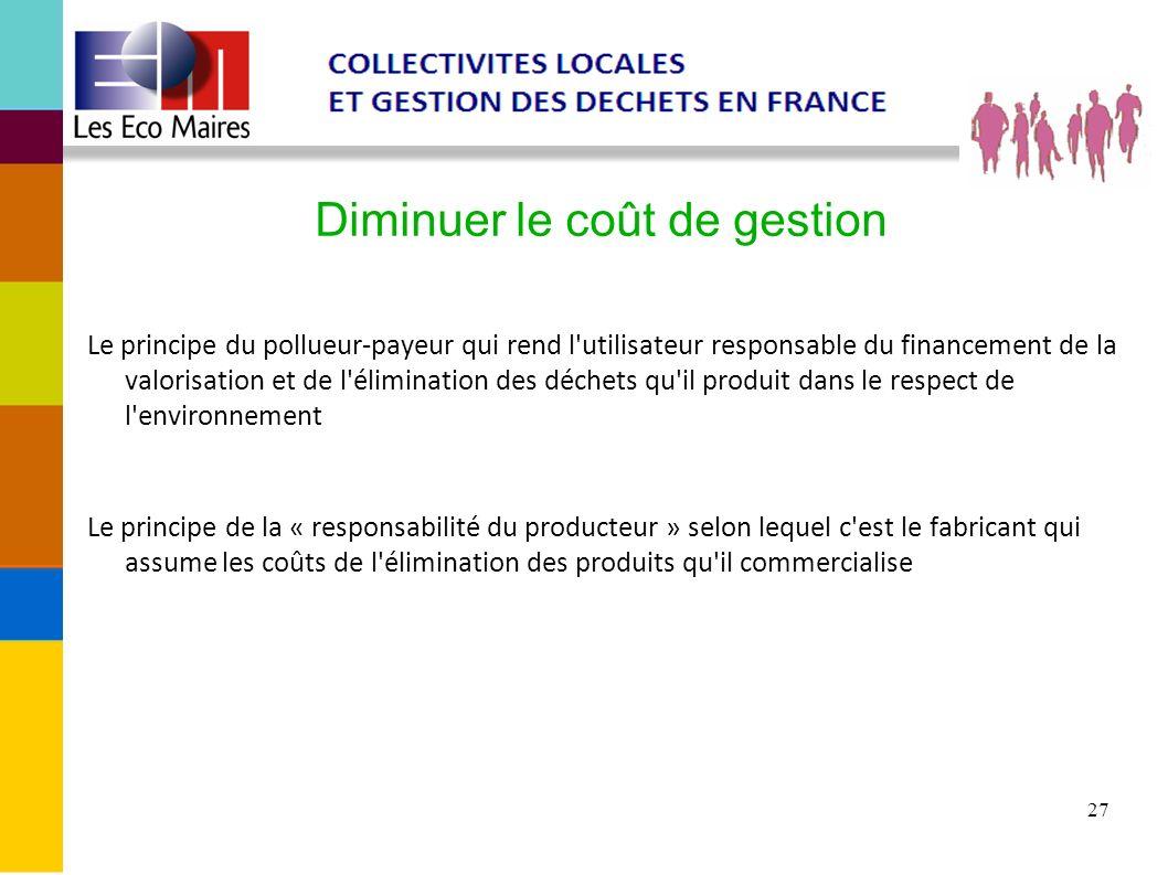 27 Diminuer le coût de gestion Le principe du pollueur-payeur qui rend l'utilisateur responsable du financement de la valorisation et de l'élimination