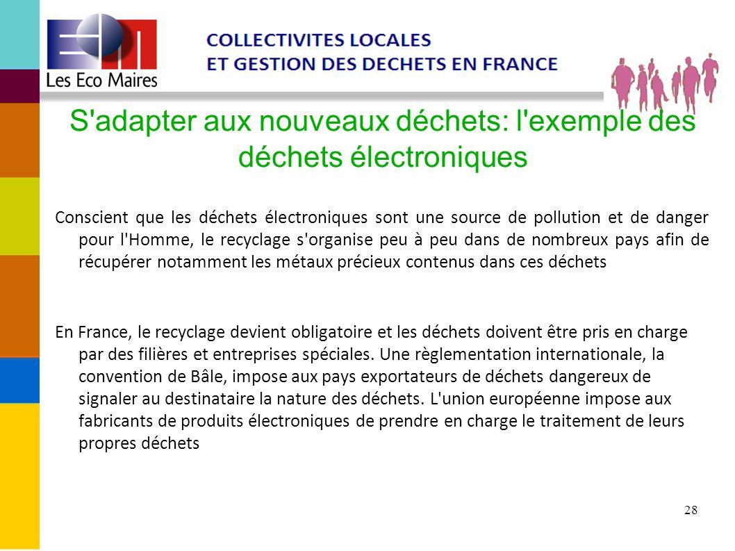 28 S'adapter aux nouveaux déchets: l'exemple des déchets électroniques Conscient que les déchets électroniques sont une source de pollution et de dang