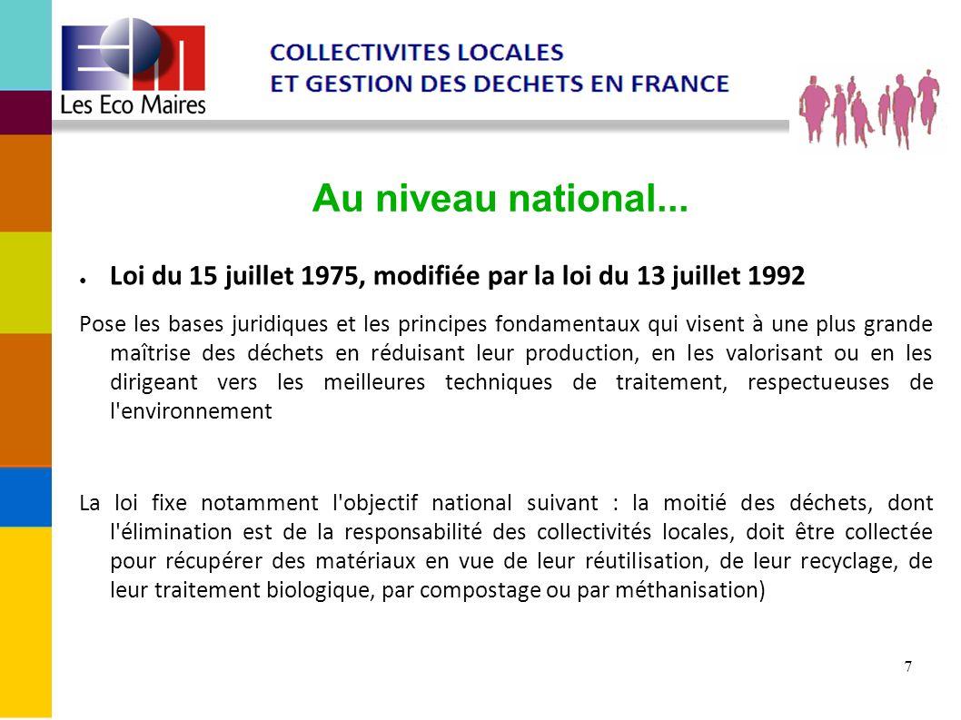7 Au niveau national... Loi du 15 juillet 1975, modifiée par la loi du 13 juillet 1992 Pose les bases juridiques et les principes fondamentaux qui vis