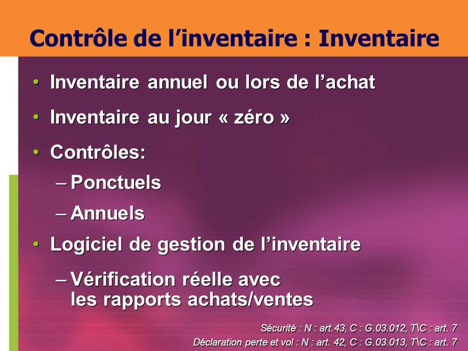 Inventaire annuel ou lors de lachat Inventaire au jour « zéro » Contrôles: –Ponctuels –Annuels Inventaire annuel ou lors de lachat Inventaire au jour