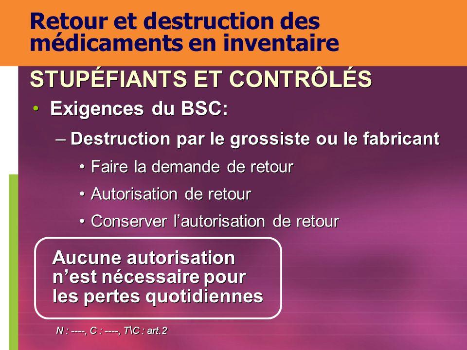 Exigences du BSC: –Destruction par le grossiste ou le fabricant Faire la demande de retour Autorisation de retour Conserver lautorisation de retour Ex